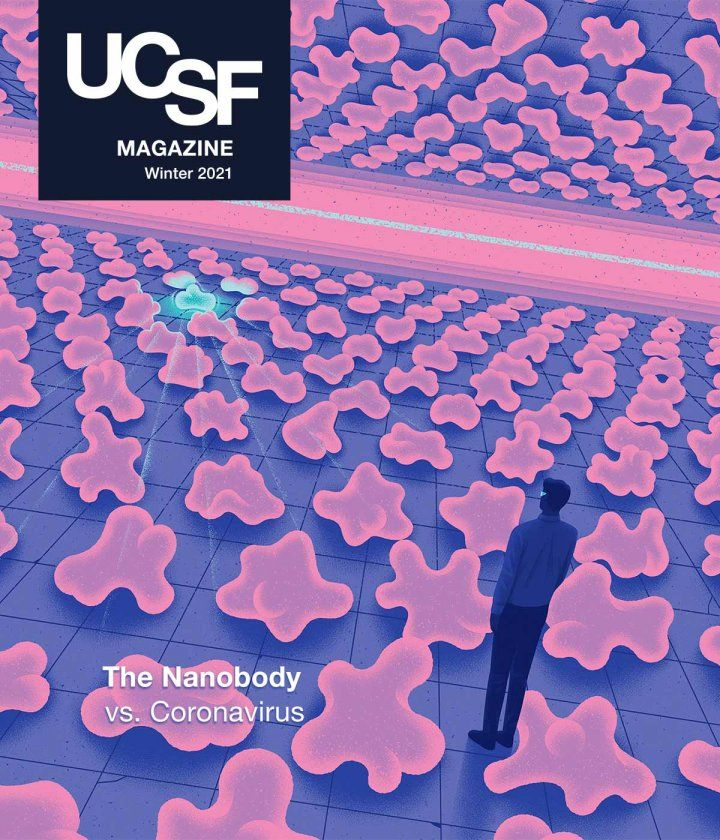 "Cover of UCSF Magazine: left corner reads ""UCSF Magazine, Winter 2021"". Illustration in background of a scientist overlooking converging planes of nanoproteins; one nanoprotein stands out in the background."