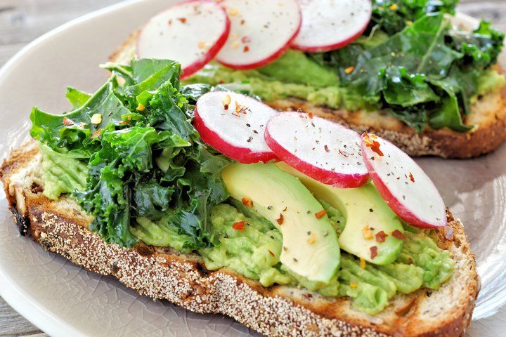avocado, kale and turnips on toast