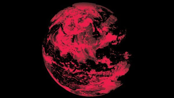 Photo of the earth in red to illustrate climate change