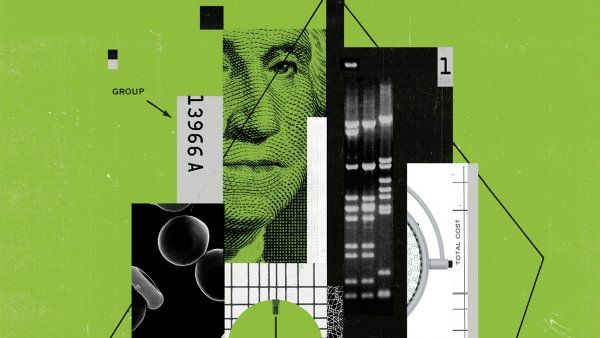 Conceptual photo illustration of cut-outs of George Washington on the dollar bill, cells, hypodermic needs, grids, lines, boxes, number, and pills.