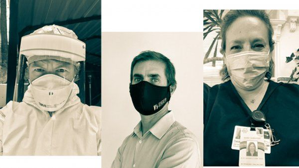 Three UCSF Alumni in PPE and face masks.