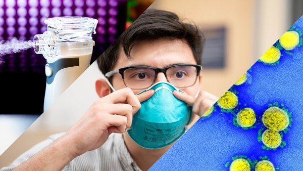 collage of microscopic image of COVID, person putting on a mask and an aerosolizer