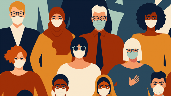 Illustration of group of people wearing face masks.