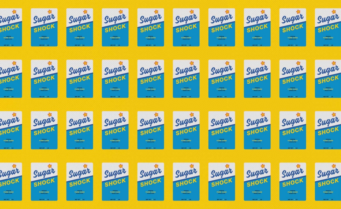 Illustration of boxes of sugar that read Sugar Shock