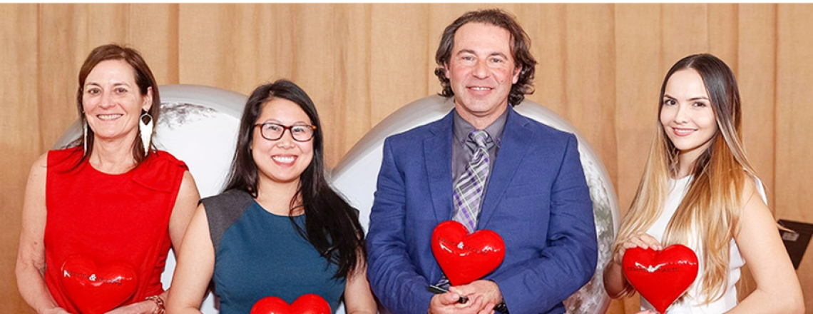 M. Margaret Knudson, Jia-Min Cheng, Dean Schillinger, and Anais Amaya pose with their awards at the 2017 Heroes & Hearts Award celebration