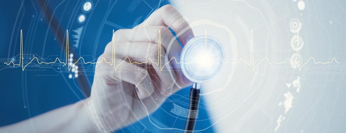 illustration of digital information around a stethoscope