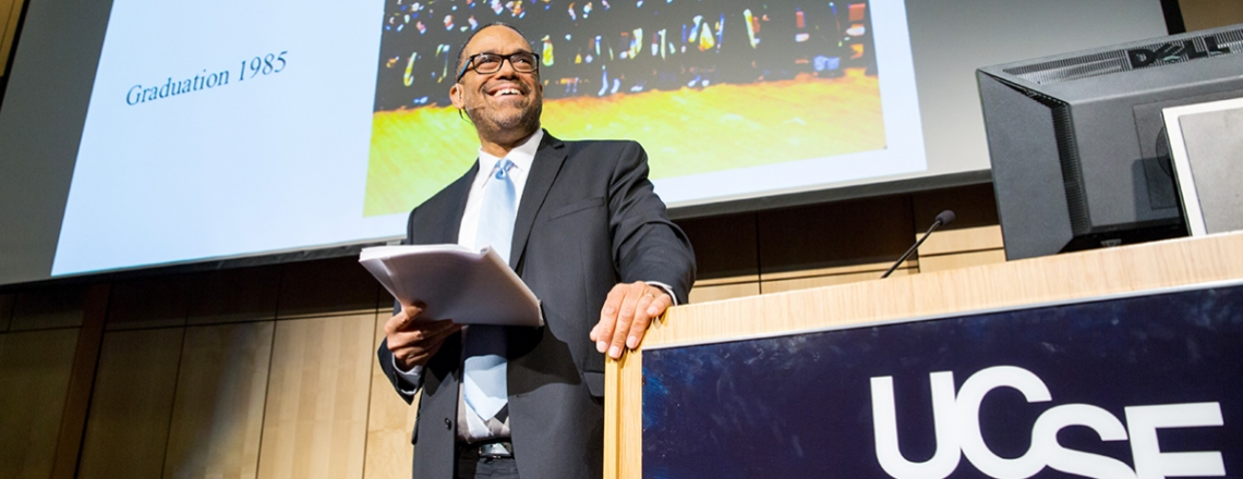 Andre Campbell talks during his delivery of the 2016 Last Lecture