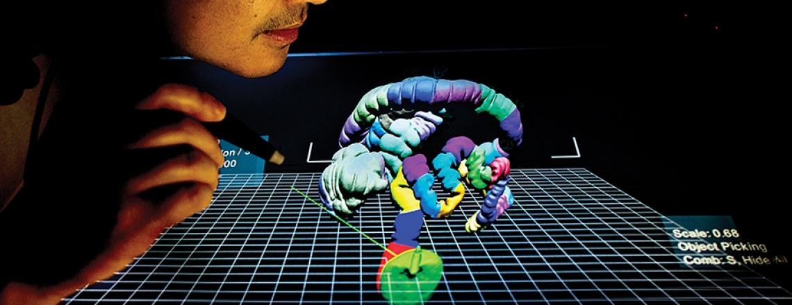 Donald Chau examining a 3-D portrayal of a colon