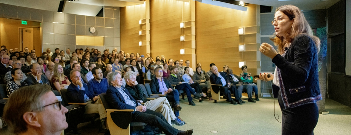 Hana El-Samad delivers a lecture in Byers Hall at the Mission Bay campus