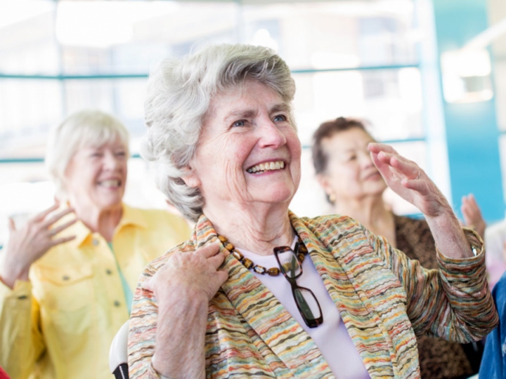 female seniors stretching in an exercise class