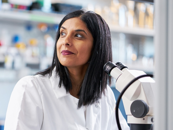 UCSF scientist Dena Dubai sitting over a microscope in her lab