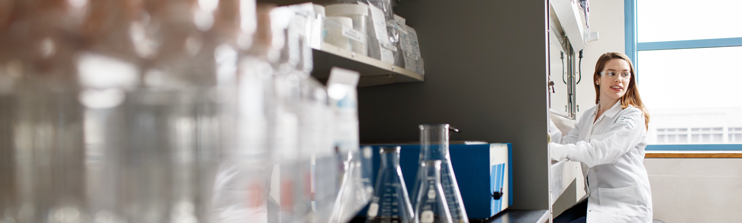 A researcher working in the lab at Helen Diller Comprehensive Cancer Center