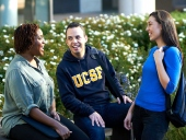 Students laughing together on the Mission Bay campus