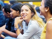 closeup of a female student at an orientation