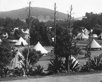 A tent city formed in Golden Gate Park after the 1906 earthquake