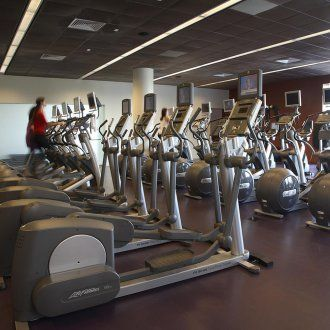 A row of exercise machines meant for cardio exercise