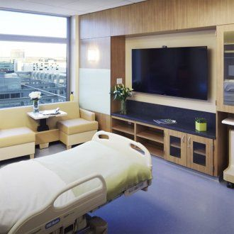 A patient room in the hospital with a large window, hospital bed, and flat screen TV