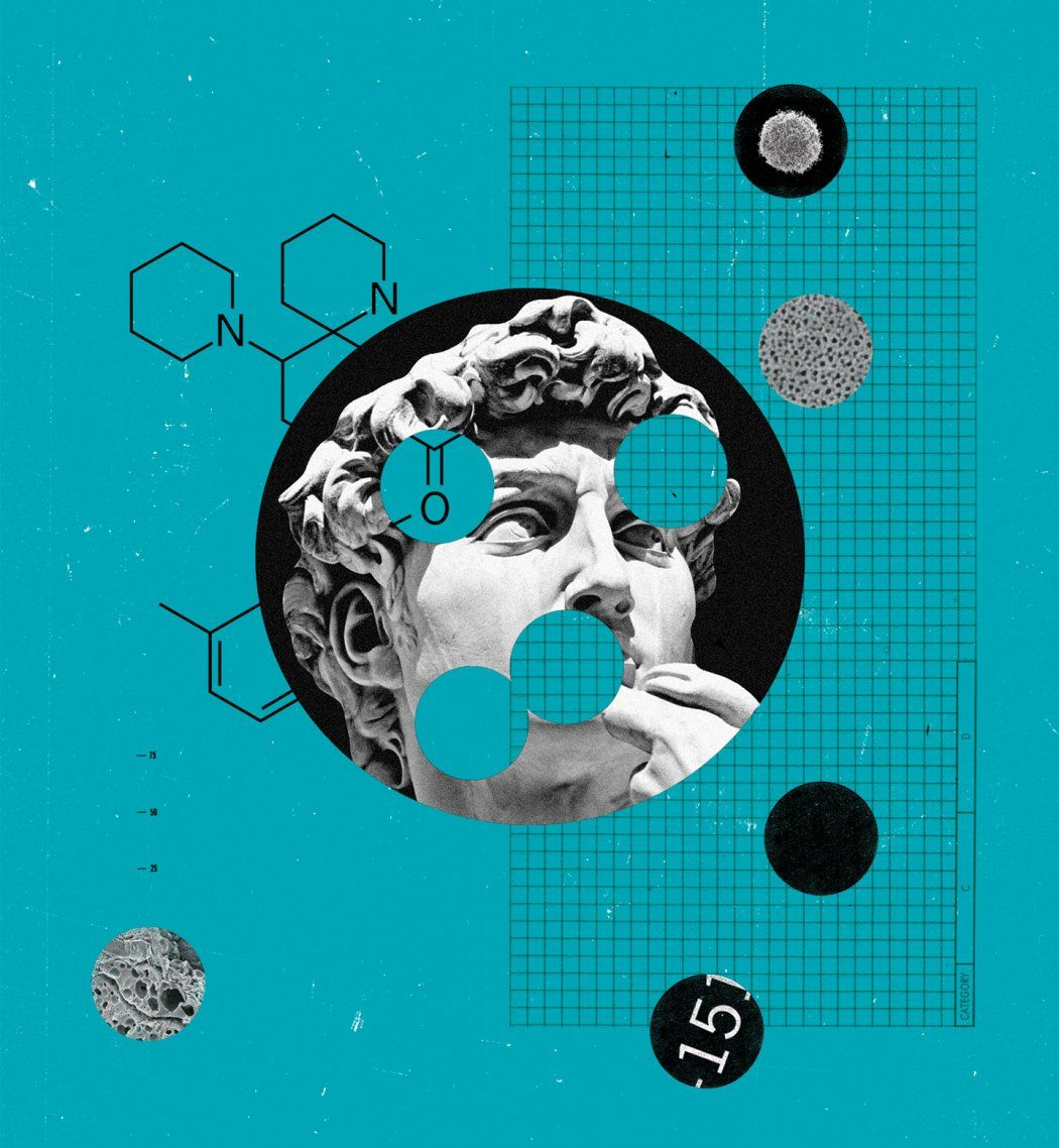 Photo illustration of Michelangelo's David with circle cut-outs of cell imagery, molecule formations, and grid pattern.