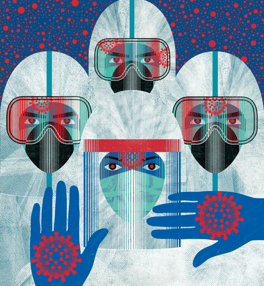 Illustration of four frontline health care workers in PPE, face masks, goggles, face shields, and gloves, with a COVID symbol on their hands.