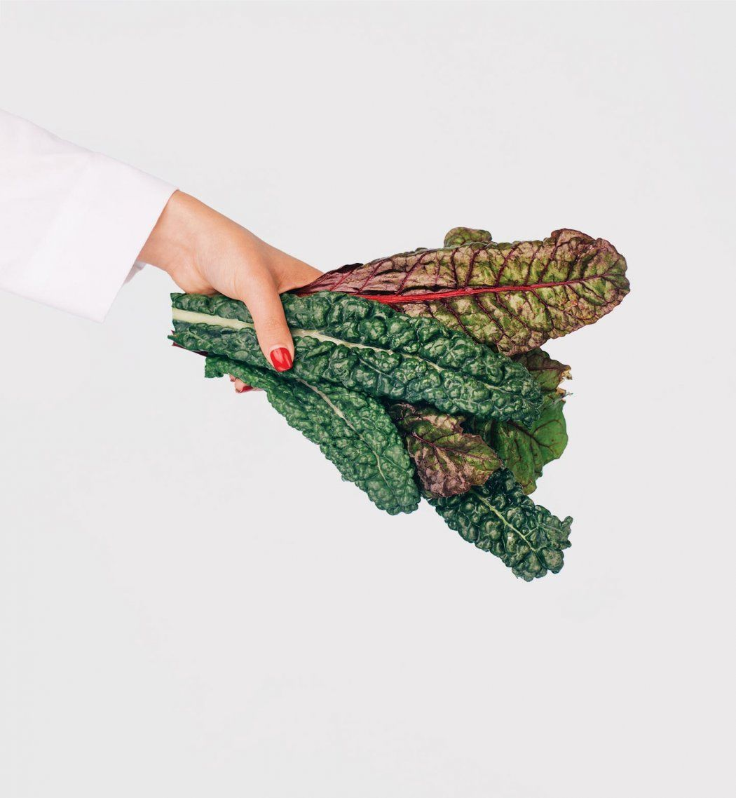 Photo of a hand in a doctor's white coat holding a bunch of chard.