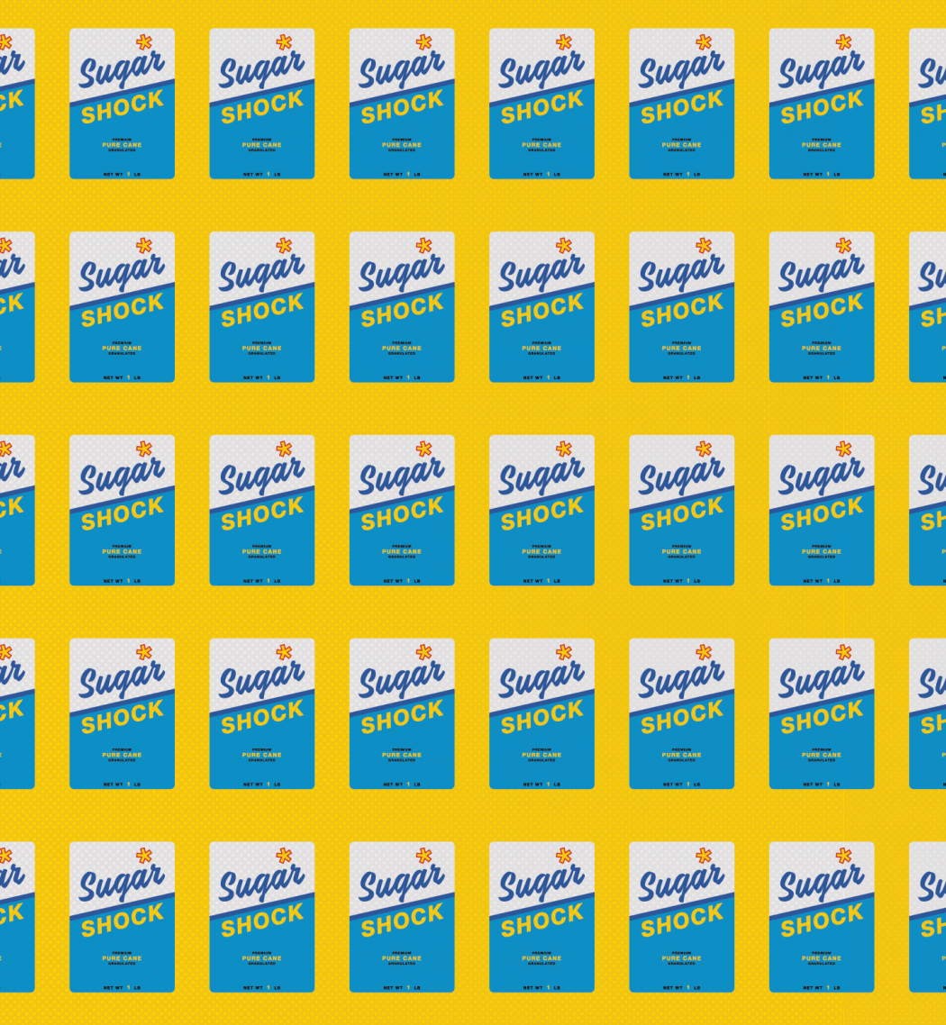 "Illustration of a repeating pattern of boxes that read ""Sugar Shock."""