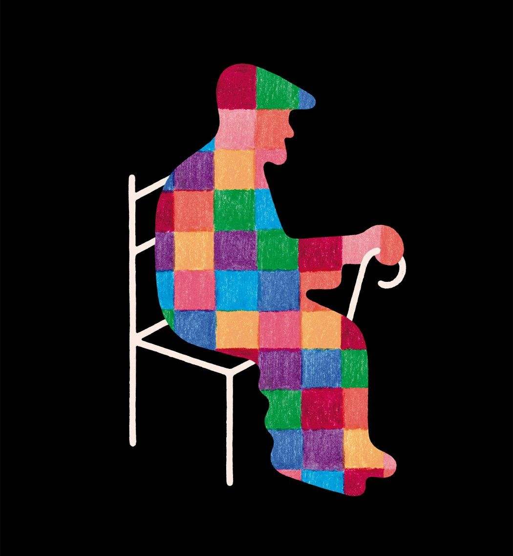 Illustration of a silhouette of an elderly man with a cane, wearing a hat; there is a patchwork of colors in the silhouette.