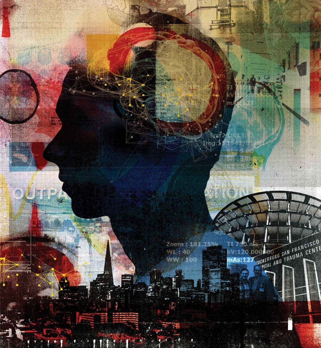 Photo collage shows a silhouetted profile of a young man, brain scans cover the top of his head; the background is filled with colorful brain scans and the San Francisco skyline and the Zuckerberg San Francisco General Hospital Trauma Center.