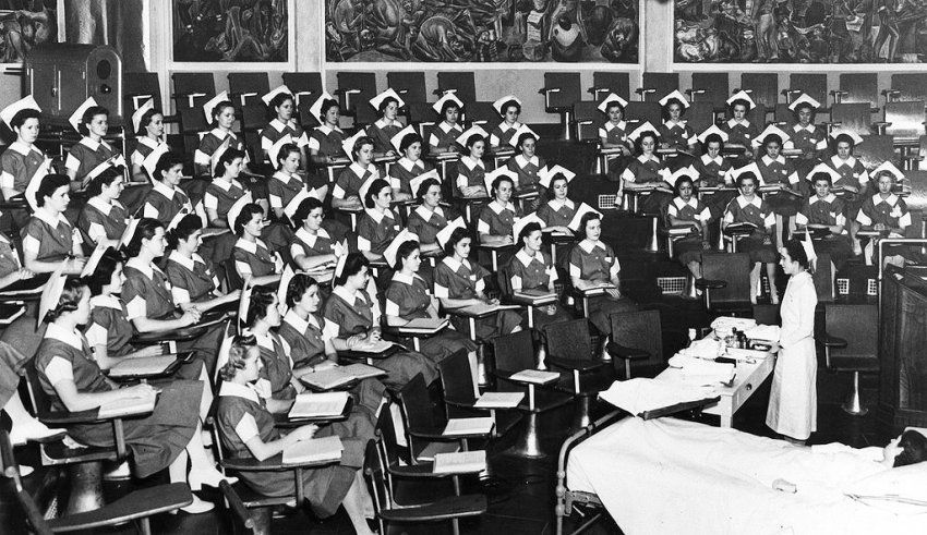 historic photo of a large nursing class circa 1941