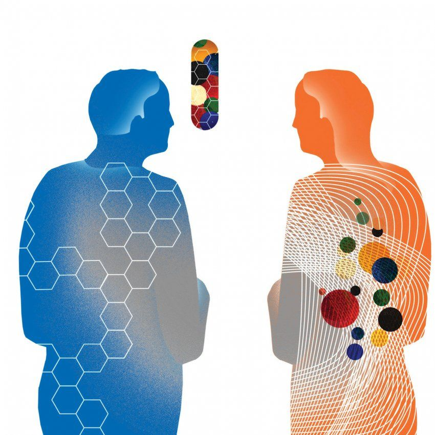 Illustration of two figures discussing medication