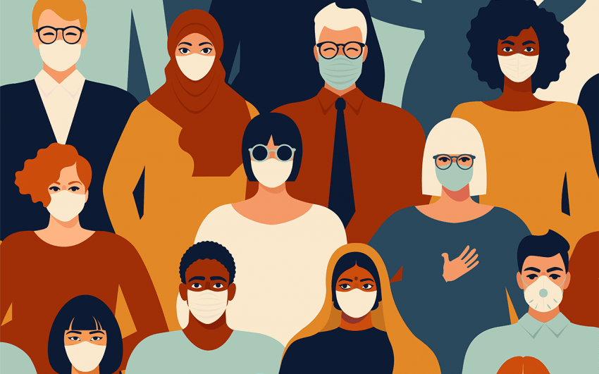 Illustration of crowd of people with masks on.